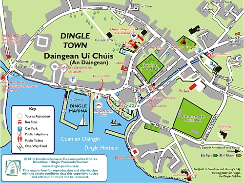 Dingle Peninsula Map Maps of the Dingle Peninsula   Map of Dingle Town   Dingle   A  Dingle Peninsula Map