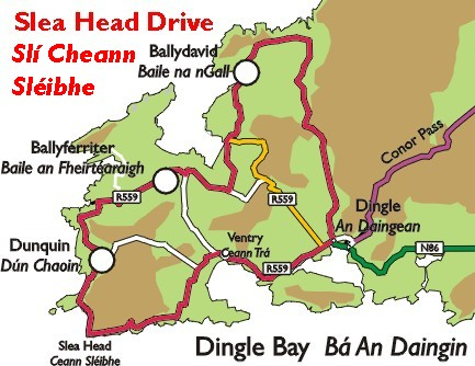 Dingle Peninsula Map The Slea Head Drive   Dingle   A Visitors Guide to the Dingle  Dingle Peninsula Map
