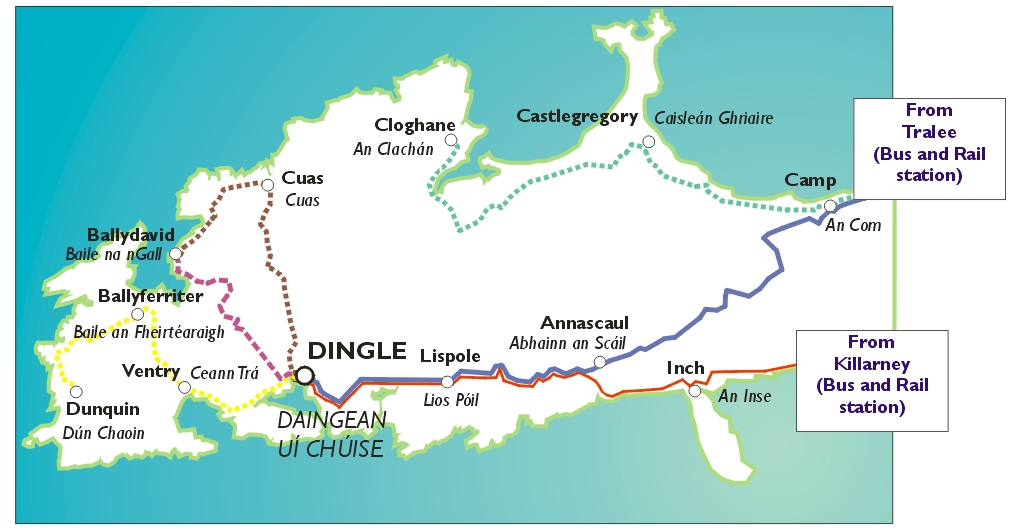 Dingle Peninsula Map Travel Information for Visitors to the Dingle Peninsula, County  Dingle Peninsula Map
