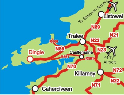 Dingle Bay Ireland Map.Travel Information For Visitors To The Dingle Peninsula County